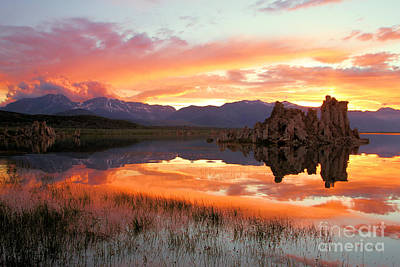Photograph - Fiery Mono Lake Sunset by Adam Jewell