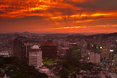 Fiery Seoul Sunset Art Print by Gabor Pozsgai