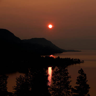 Photograph - Fiery Sunrise Over Kelowna by Trever Miller