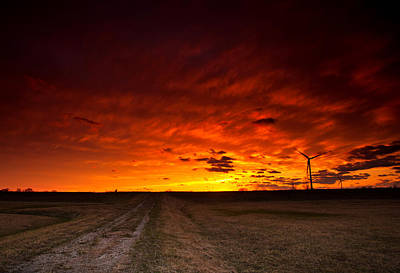 Dirt Roads Photograph - Fiery Sunset by Cale Best