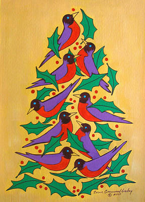 Painting - Fiesta Of Robins by Susan Greenwood Lindsay