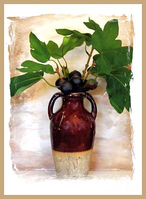 Fig Branch In Europeon Pottery Art Print by Marsha Heiken