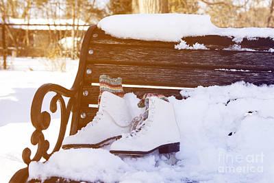 Figure Skate Photograph - Figure Skates On The Bench by Igor Kislev
