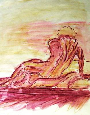 Nude Painting - Figure Sketch In Purple And Yellow Arched And Curved Twisted Back Leaning On One Hand In Seated Pose by M Zimmerman