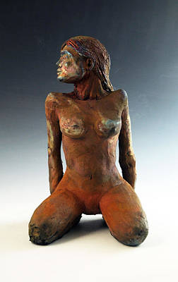 Raku Sculpture - Figure Study Two Front View by Alejandro Sanchez