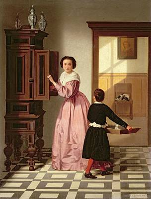 Interior Cabinet Dresser Female Pink Dress Child Tray Laundry Spaniel Dog Painting - Figures In A Laundryroom by Gustaaf Antoon Francois Heyligers
