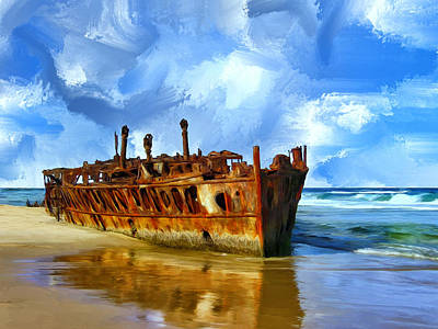 Ghost Ship Painting - Final Resting Place by Dominic Piperata