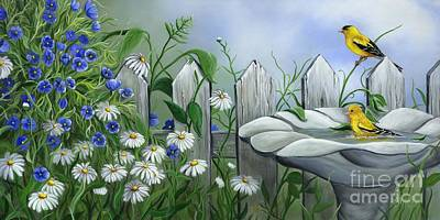 Finches Original by Sharon Molinaro