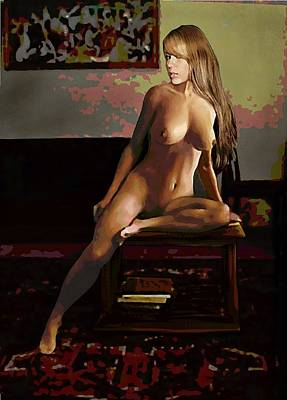Painting - Fine Art Female Nude Jess Sitting 2b3 by G Linsenmayer