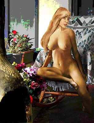 Painting - Fine Art Female Nude Jess Sitting 2b4 by G Linsenmayer