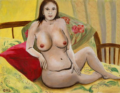Art Print featuring the painting Fine Art Female Nude Seated 2010 by G Linsenmayer