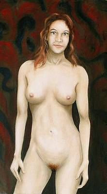 Painting - Fine Art Female Nude Standing by G Linsenmayer