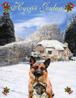 Friend Holiday Card Mixed Media - Finish Holiday German Shepherd And Puppy by Eric Kempson