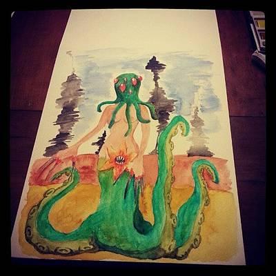 Cthulhu Wall Art - Photograph - Finito #acquerello #watercolor by Daniela Barisone