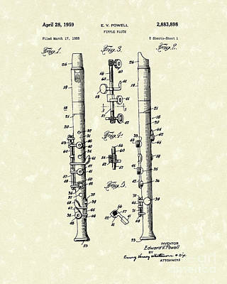 Tin Whistle Drawing - Fipple Flute 1959 Patent Art by Prior Art Design