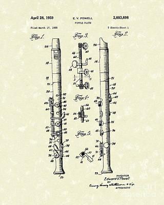 Fipple Flute 1959 Patent Art Art Print