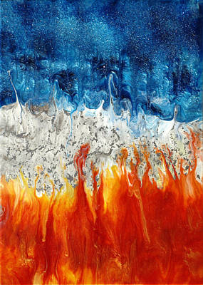 Epoxy Resin Painting - Fire And Ice by Paul Tokarski