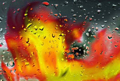 Fire And Rain Abstract 2 - Inverted Art Print by Steve Ohlsen