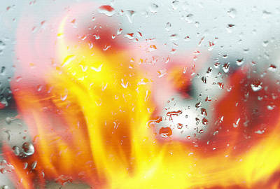Fire And Rain Abstract 2 Art Print by Steve Ohlsen