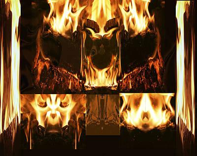 Fire Faces Art Print by Janet Kearns
