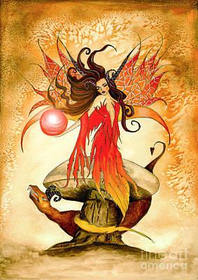Dragon Painting - Fire Fairy by Alysa Fioretzi