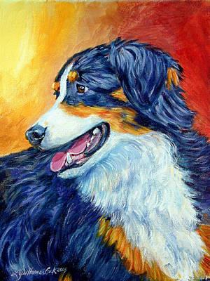 Shepherd Dog Painting - Fire Glow - Australian Shepherd by Lyn Cook
