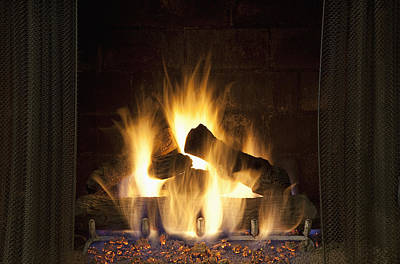 Fire In The Fireplace Hearth Art Print by Bryan Mullennix