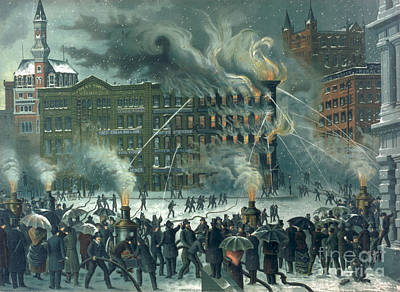 Crowds Painting - Fire In The New York World Building by American School