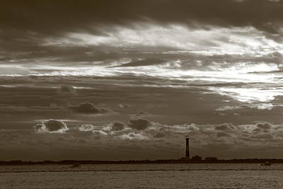 Photograph - Fire Island Light And Clouds Black And White by Christopher Kirby