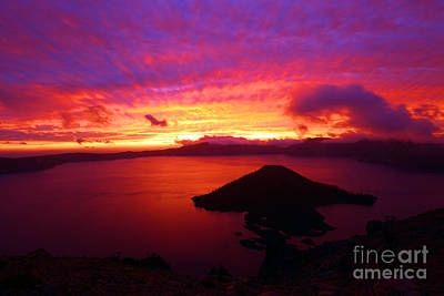 Photograph - Fire Over Wizard Island by Adam Jewell