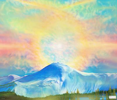 Fire Rainbow Over Alberta Peak With Hebrew Scripture Original by Anastasia Savage Ealy