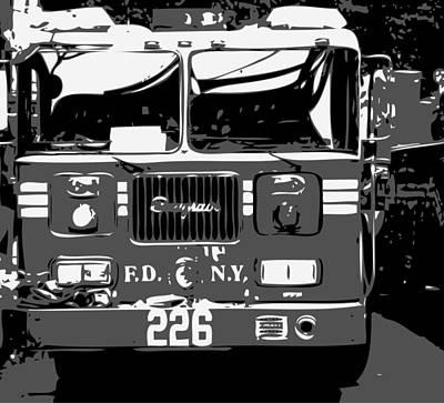Fire Truck Bw3 Art Print
