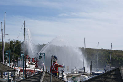 Photograph - Fireboat Display At The Cove by Margie Avellino