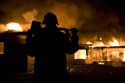 Night Photograph - Firefighter - Burning House by Maureen Bates