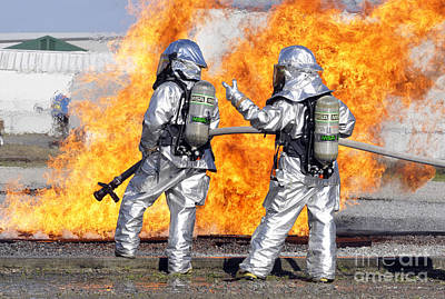 Obscured Face Photograph - Firefighters Battle A Simulated Fire by Stocktrek Images