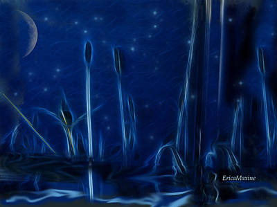 Digital Art - Fireflies At The Pond by Ericamaxine Price