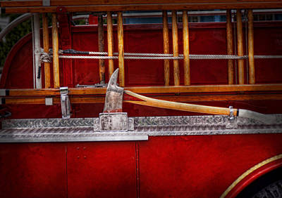 Photograph - Fireman - Nice Axe  by Mike Savad