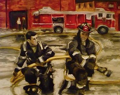 Fire Gear Painting - Firemen by Kelly S