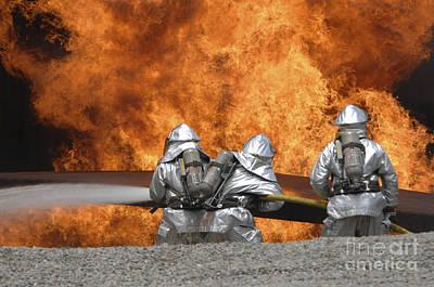 Firemen Neutralize A Fire Art Print