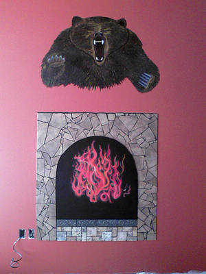 Grizzly Bear Mixed Media - Fireplace  by Erica Rosengren Abbott