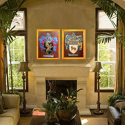 Coat Of Arms Painting - Fireplace by Nancy Rutland