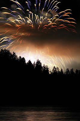 Firework Display At The Celebration Of Light In Vancouver Canada 2011 Art Print by Pierre Leclerc Photography