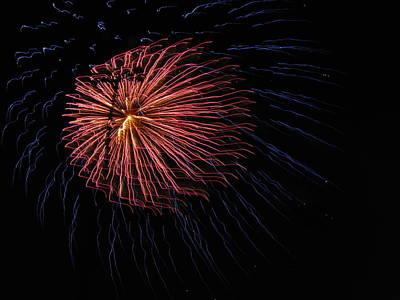 Red Fireworks Photograph - Firework Flower II by Denise Keegan Frawley