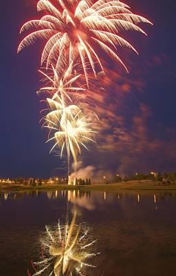 Fireworks Display On Canada Day Art Print by Carson Ganci
