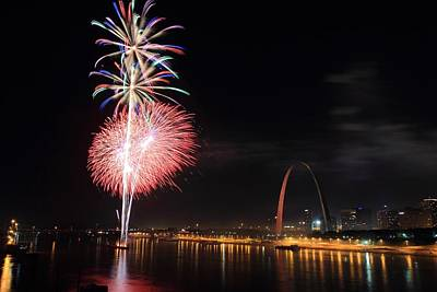 Photograph - Fireworks From Eads Bridge In Saint Louis by Scott Rackers