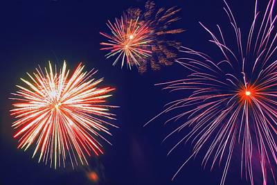 Brilliant Fireworks Photograph - Fireworks In The Night Sky by Carson Ganci