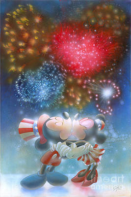 4th Of July Painting - Fireworks by John Rowe