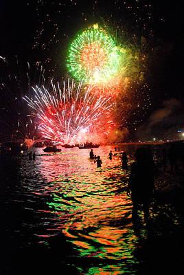Fireworks On The Beach Art Print by Perry Van Munster