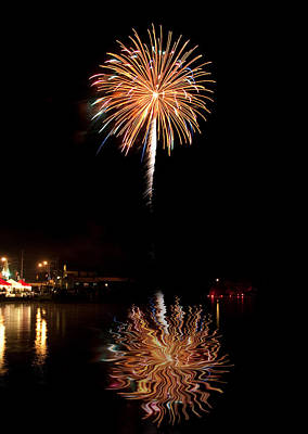 Art Print featuring the photograph Fireworks Over Lake by Cindy Haggerty