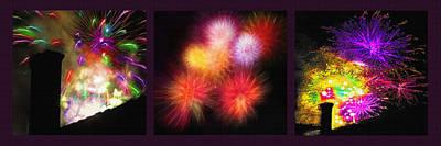 Fireworks Triptych Art Print by Steve Ohlsen